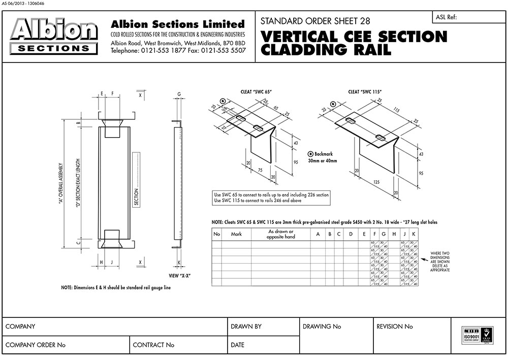 Vertical Rail Assembles And Standard End Cleats Albion